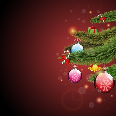 Christmas ornaments, present and lollipops  with Christmas tree branches on a red sparkly background   Vector