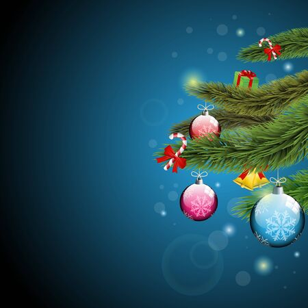 Christmas ornaments, present and lollipops  with Christmas tree branches on a blue sparkly background   Vector