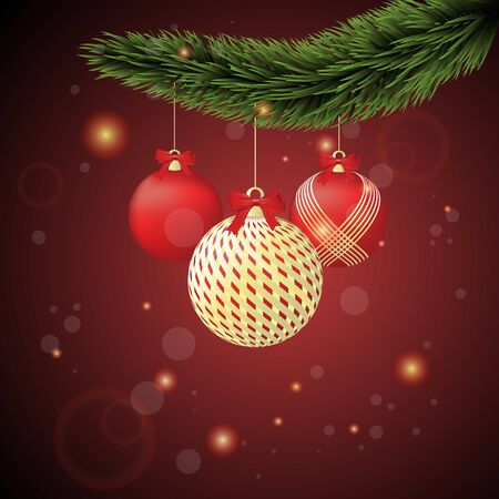 Christmas ornaments gold and red, with Christmas tree branches on a red sparkly background