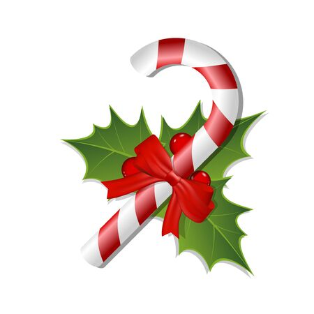 Mistletoe and red and white candy with a bow  Isolated on white  Vector