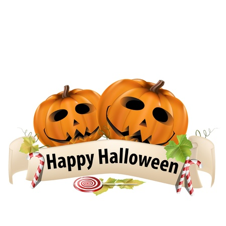 Halloween realistic pumpkins with banner and candy  Stock Vector - 15858340