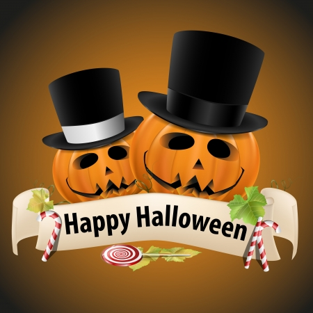 Halloween realistic pumpkins with cylinder hats and banner and candy Stock Vector - 15858348
