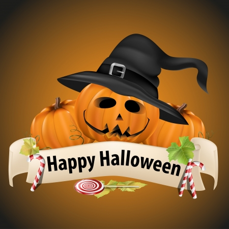 Realistic Halloween pumpkins with witch hats and banner and candy  Stock Vector - 15858341