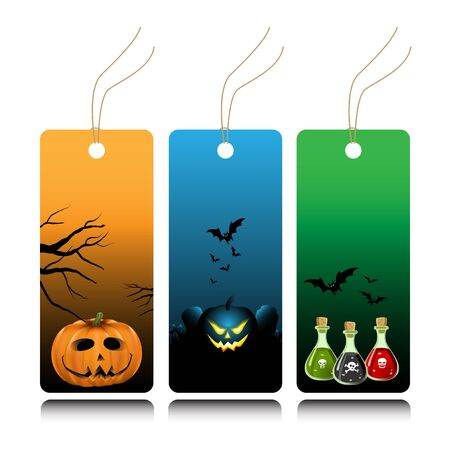 Halloween tags with pumpkins and bats