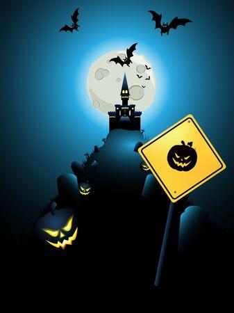 Halloween card with pumpkin warning sign Stock Vector - 15858336