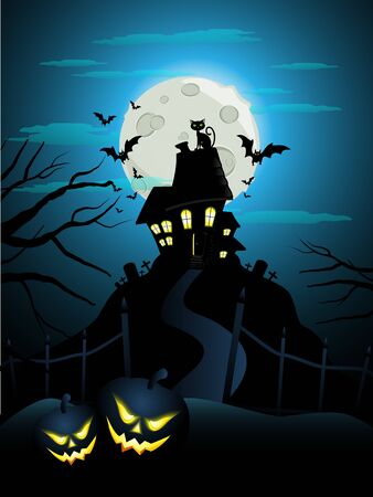house party: Halloween card with pumpkins  Illustration
