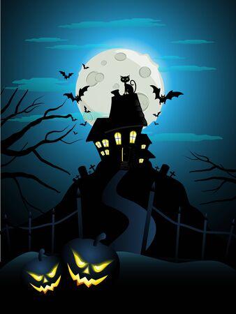 Halloween card with pumpkins Stock Vector - 15858354