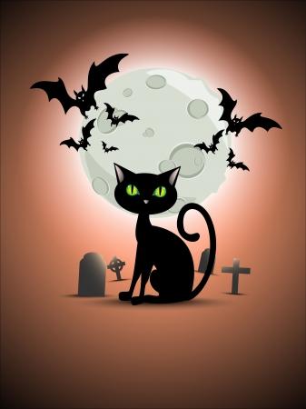 Halloween cat, graveyard, moon and bats Stock Vector - 15858334