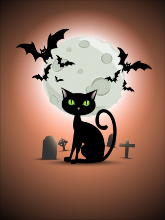 Halloween cat, graveyard, moon and bats