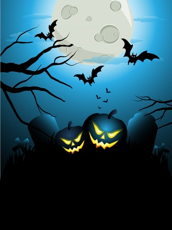 Halloween cemetary with pumpkins and bats Stock Vector - 15858352