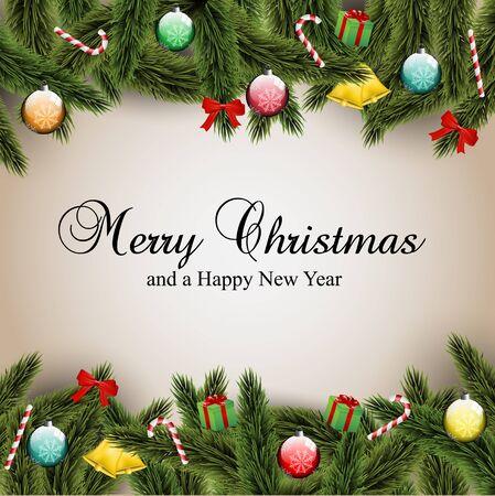 christmas berries: Cartolina di Natale con ornamenti, e rami Vettoriali