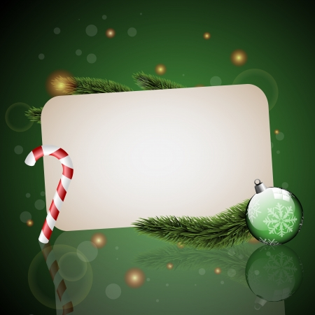 Christmas card with ornaments with green background Illustration
