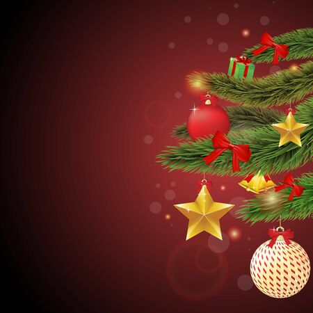 Christmas tree branches with stars and ornaments Vector