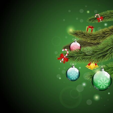 Christmas tree branches with presents and shine green background
