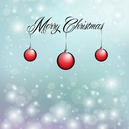 Merry Christmas with red ornaments and snow flakes Stock Vector - 16487936