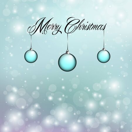 Merry Christmas with blue ornaments and snow flakes Stock Vector - 16487928