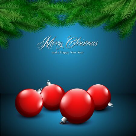Christmas card with ornaments on a blue background Stock Vector - 16808924