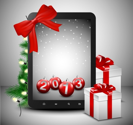 Tablet in Christmas spirit and presents  Vector