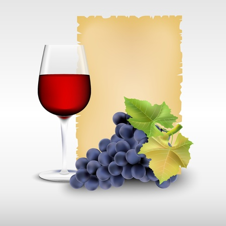 Glass with red wine and grapes Stock Vector - 17127256