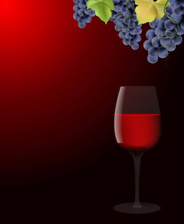 wine growing: Glass with red wine and grapes