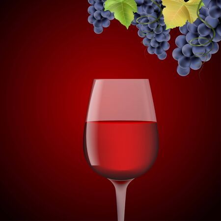 Glass with red wine and grapes on a red beckground Stock Vector - 17127251