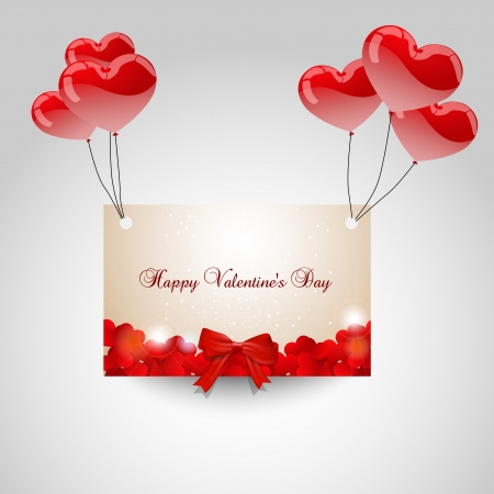 width: Flying love note width red hearts and heart balloons