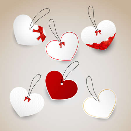 A set of heart tags Vector