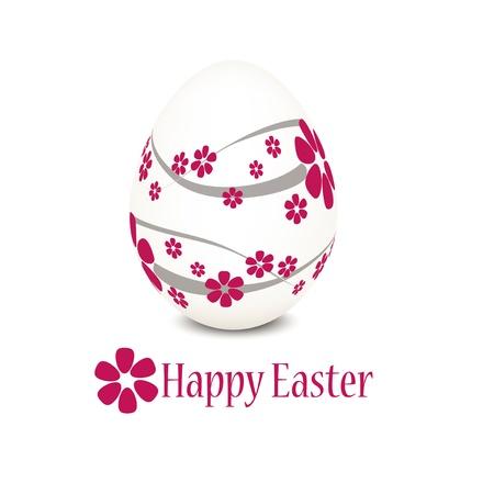 width: Easter egg width pink flower pattern