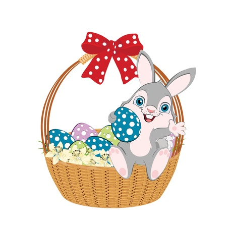width: Easter basket width bow, easter bunny and easter eggs. Illustration