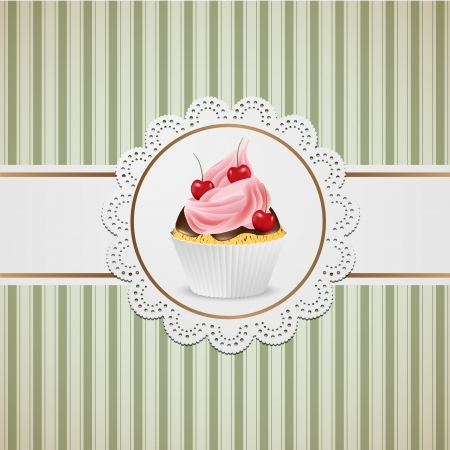Cupcake with pink creme on lace and striped table cloth. Vector