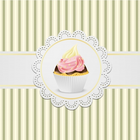 Cupcake with jelly and creme on vintige background. Illustration