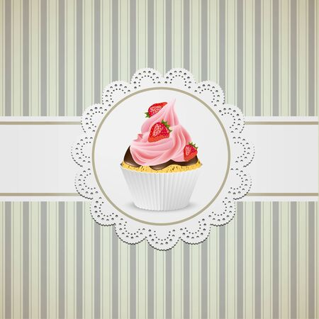 Cupcake width strawberries and pink creme on lace Çizim