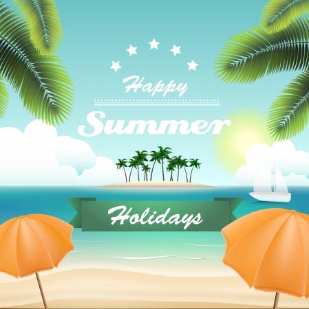 width: Vintage summer card, width a beach