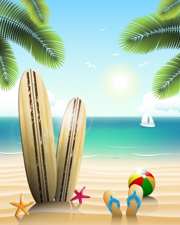 Surfboards on a beach with beach elements Vector