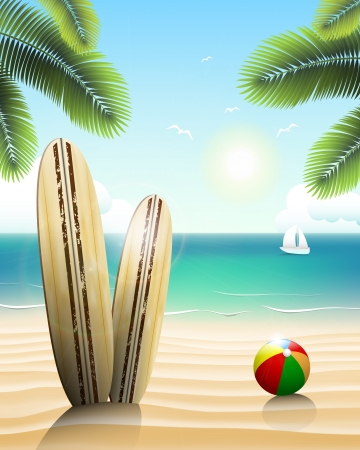 Surfboards on a beach and a ball in the sand. Illustration