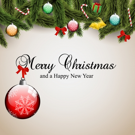 width: Mery Christmas cad width ornamentas and pine tree branches