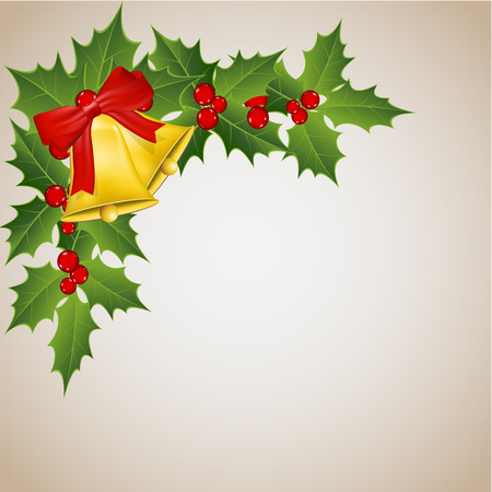 width: Mistletoe and holden bells width a red bow  Illustration