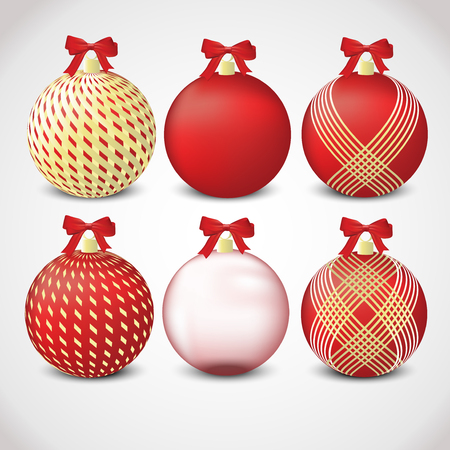 christmas  ornament: A set of red and gold Christmas ornaments  Illustration