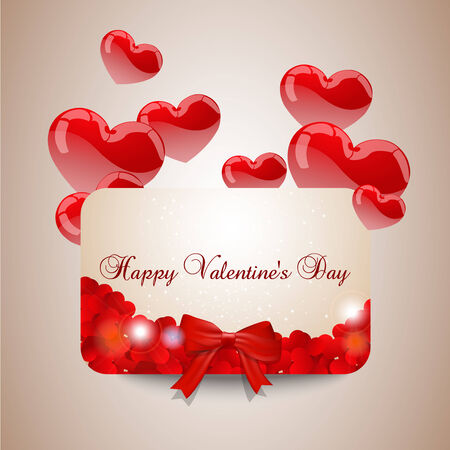 width: Valentines day card width red hearts  Illustration