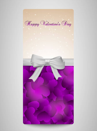 width: Purple valentines day card width hearts and a bow  Illustration