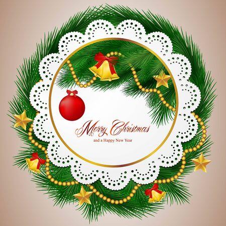 albero pino: Buon Natale e Felice anno nuovo carta con ornamenti e rami degli alberi di pino.