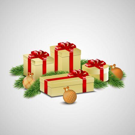 albero pino: Regali di Natale d'oro e ornamenti disposti sui rami degli alberi di pino. Vettoriali