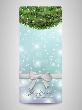 albero pino: Cartolina di Natale con scintille e rami degli alberi di pino.