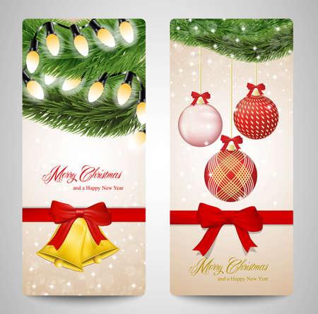 albero pino: Cartolina di Natale con ornamenti e rami degli alberi di pino. Vettoriali