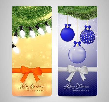 bue: A set of christama cards orange and bue