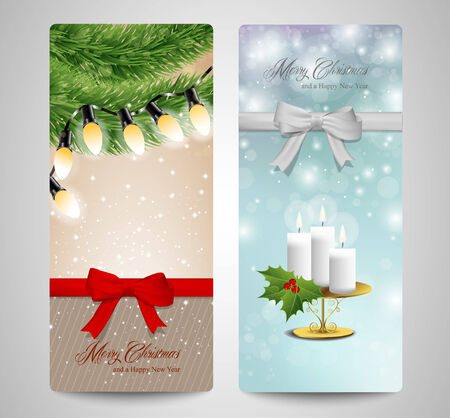 candle lights: Set of two Christmas cards with lights candle and pine tree branches.