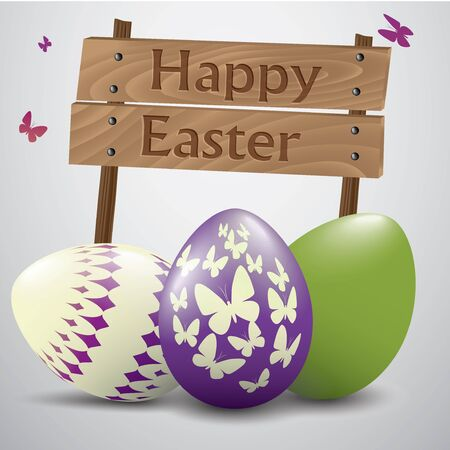 easter sign: Easter sign with purple and green egg Illustration