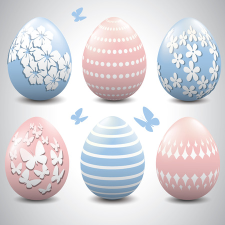 baby pink: Baby blue and baby pink Easter eggs.