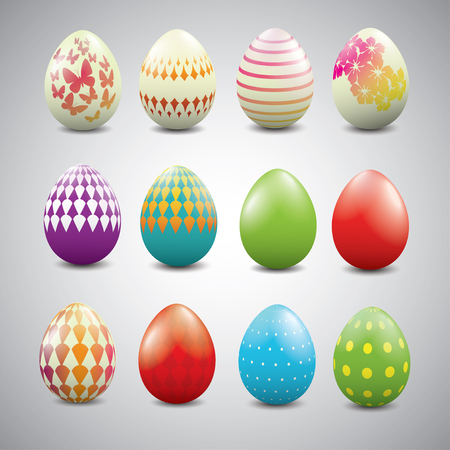 buttery: Set of Easter eggs with geometric patterns Illustration