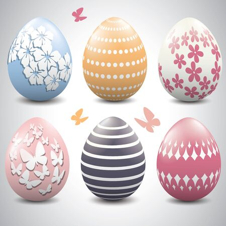 pastel colored: A set of pastel colored Easter eggs
